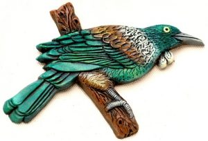 Small Ceramic Tui on Branch - $24